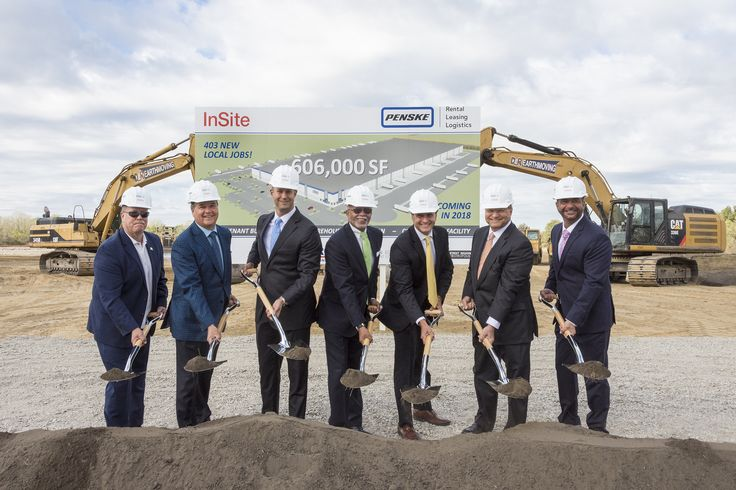 Penske Logistics and developer, InSite Real Estate, LLC, officially broke ground on a $98.5 million, 606,000-sq-foot distribution center in Romulus, Michigan on October 3. Representatives from the city, county, chamber of commerce, Detroit Region Aerotropolis and Michigan Economic Development Corporation were all on hand to commemorate the occasion with a shovel ceremony. #penske #logistics #SupplyChain #michigan #jobs #warehousing #Romulus #detroit