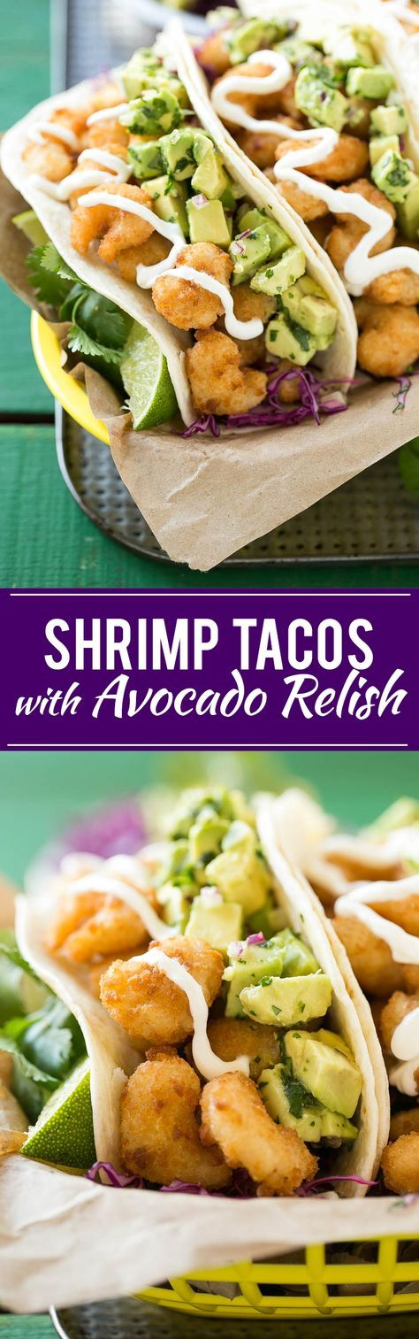 Fried Shrimp Tacos with Avocado Relish - This recipe for fried shrimp tacos is a pile of crispy shrimp that's layered with cilantro lime cabbage slaw and avocado relish then stuffed inside warm flour tortillas.