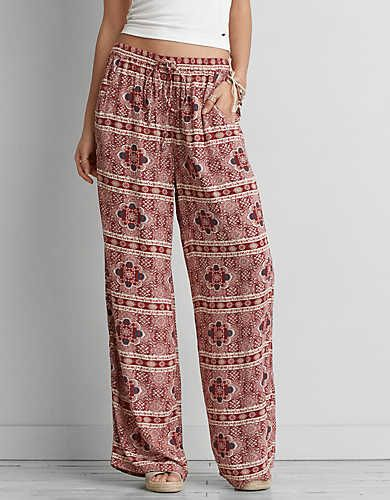 AEO Wide Leg Soft Pant , Burgundy | American Eagle Outfitters