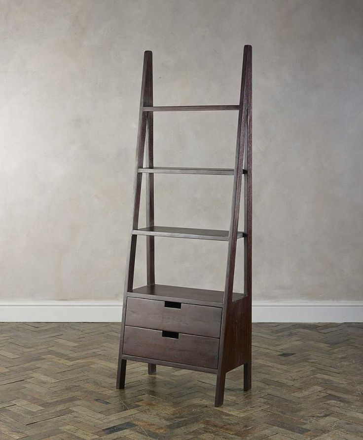 Chic Ladder Bookshelf With Drawers For Home Furniture