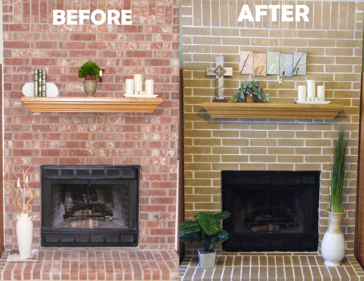 Cheap Easy Fireplace Makeover Concrete Stain Got Rid Of My Ugly Red Brick Fireplace 1 White