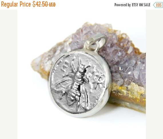 ON SALE Silver Coin Pendant - 925 Sterling Silver - Honeybee