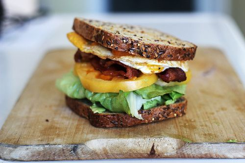 BLT with eggs. would probably use white bread though :)