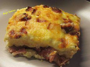 Σουφλέ με ψωμί του τοστ, πατάτα, μπέικον και τυρί
