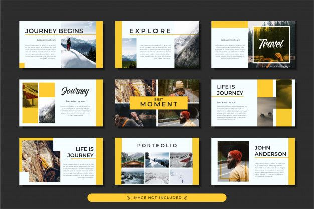 Presentation Travel And Adventure Powerpoint Template With Yellow Stripe Motive For Business And Travel Agency Presentation Travel Agency Photo Presentation Ideas