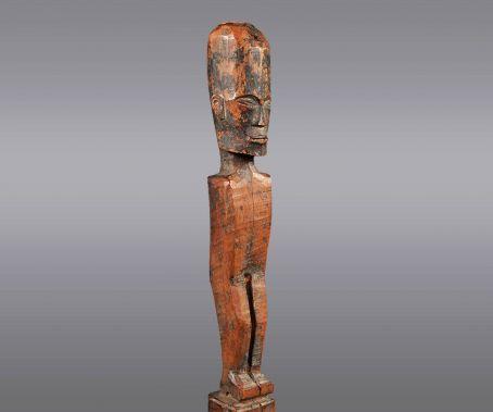 "Batak Figure Batak people, Sumatra, Indonesia Late 19th or early 20th century Wood 32"" (h). The figure mea"