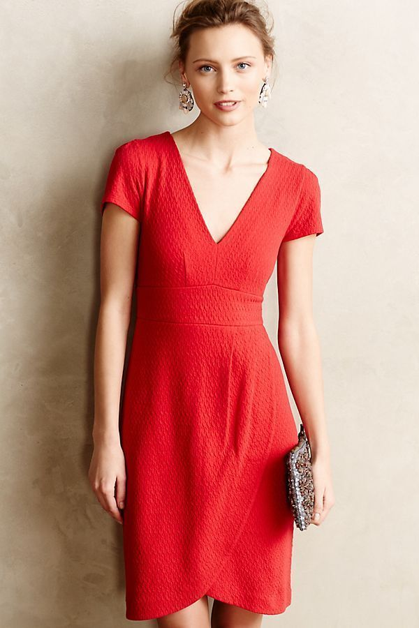 65150f6cfc8 Anthropologie Maeve Size XS Red Splitshade Tulip Hem Short Sleeve Dress   Anthropologie  BodyconDressSheathDress