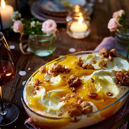 Peach and passion fruit dessert
