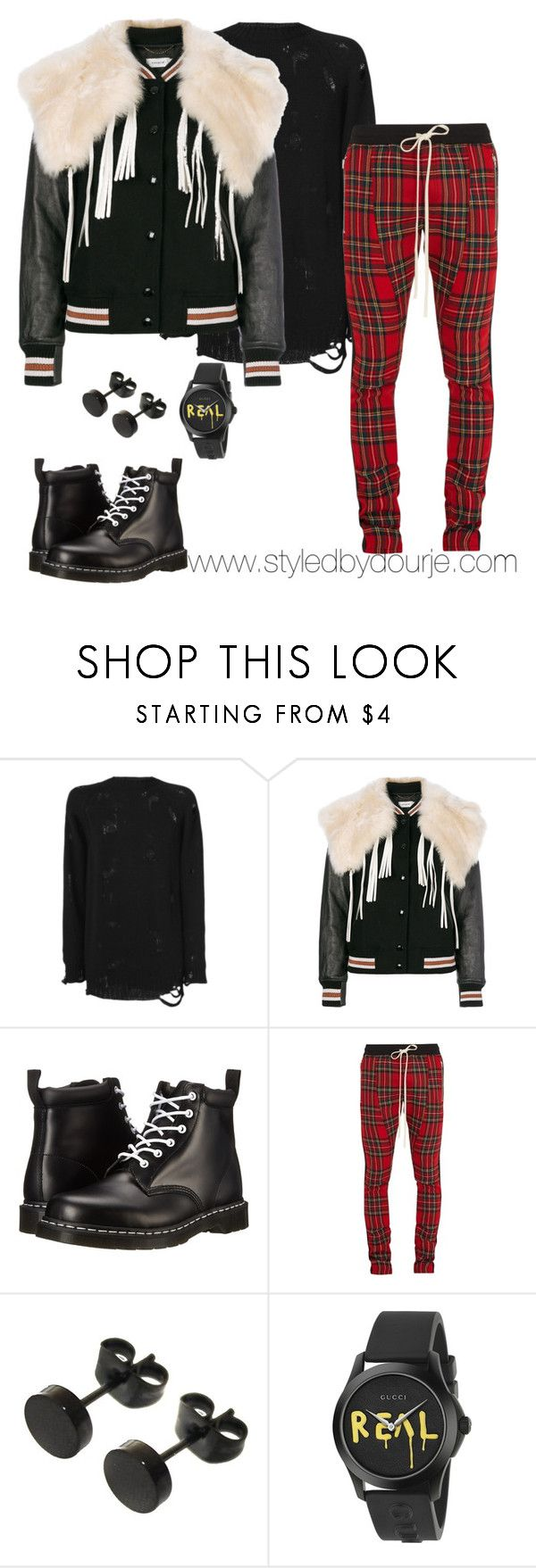 """""""Untitled #158"""" by aaron-dourje-washington on Polyvore featuring Maison Mihara Yasuhiro, Coach, Dr. Martens, Fear of God, Gucci, men's fashion and menswear"""