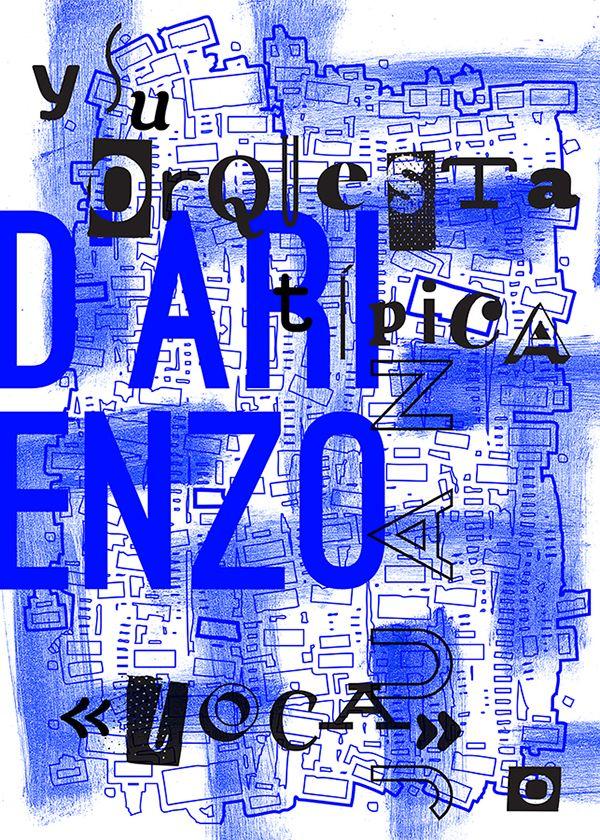 Tango argentino orchestra typographic poster: Juan D`Arienzo