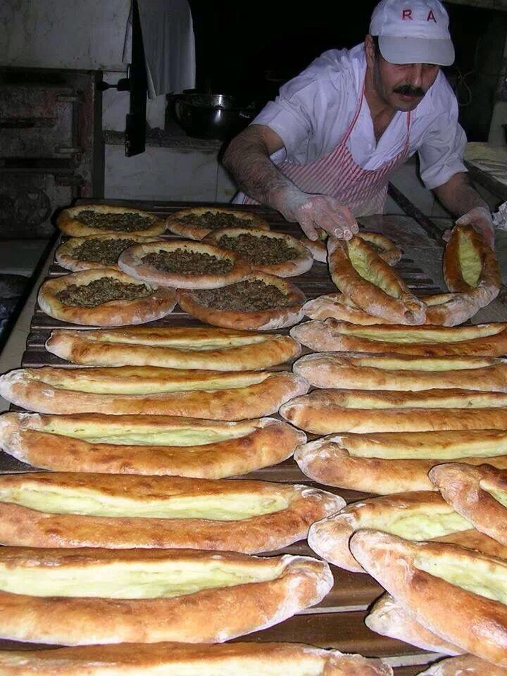 Delicious Trabzon Pidesi (flat bread with various fillings), Northern Turkey.