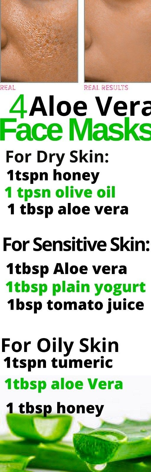 4 Aloe Vera Face mask for All skin type.These 4 Aloe Vera Face mask are simple way to get the most out of your skincare routine. Aloe Vera is one of the best things you can use, to treat various skin conditions such as acne, eczema, age spots and stretch marks. Its a natural antibiotic, packed with tons of mineral and nutrients that's good for skin. This makes this amazing super plant a must, for beautiful healthy skin.