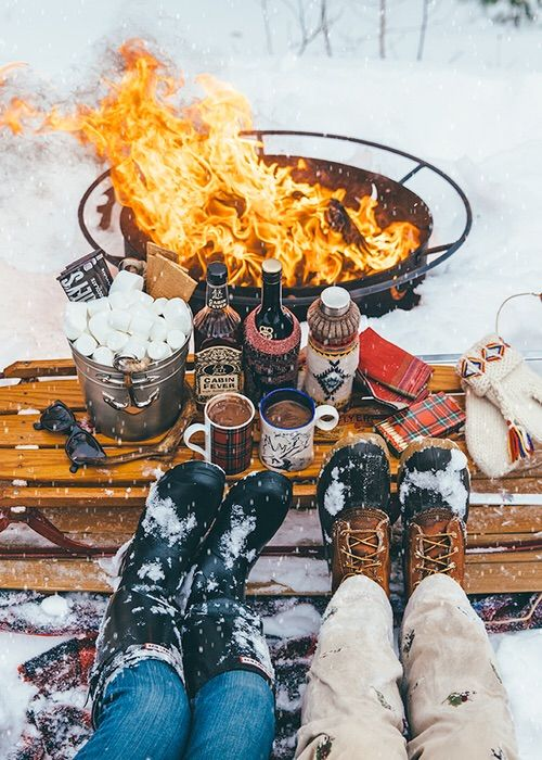 A fire, some snow, s'mores and a good drink = the ultimate adult snow day <3