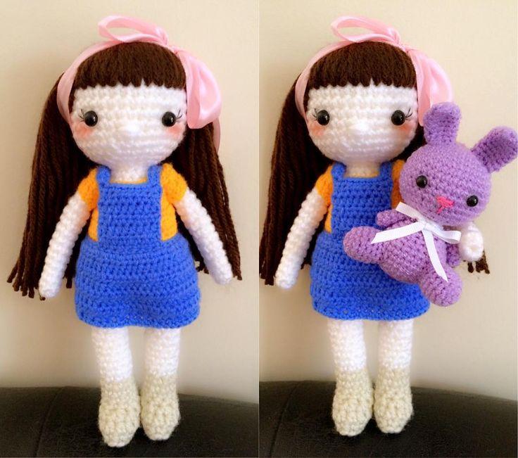 #crochet #crochetdoll #crochetaddict #crochetlovers #haken #handmadedoll #handmade #handwork #diy #bonekarajut #boneka #rajutan #amigurumi #amigurumist #amigurumidoll #instagood #instacrochet #ilovecrochet #instadoll #ilovedolls #instagurumi #girlandbunny by nanafairycrafts