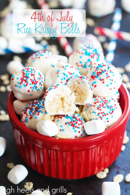 4th of July Rice Krispy Balls. Easy, delicious, and festive treat. http://www.highheelsandgrills.com/2014/06/4th-of-july-rice-krispy-balls.html