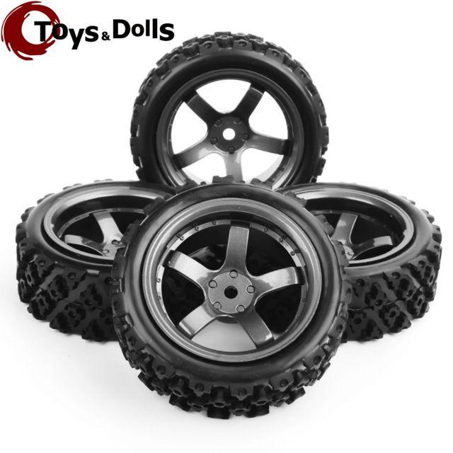 4 unids 1/10 RC Coche Neumáticos Y Ruedas 12mm Hex Rc Rally Off Road Neumáticos y Borde de la Rueda De Goma De Plástico Para Juguetes Modelo de Coche Accesorios Del Coche