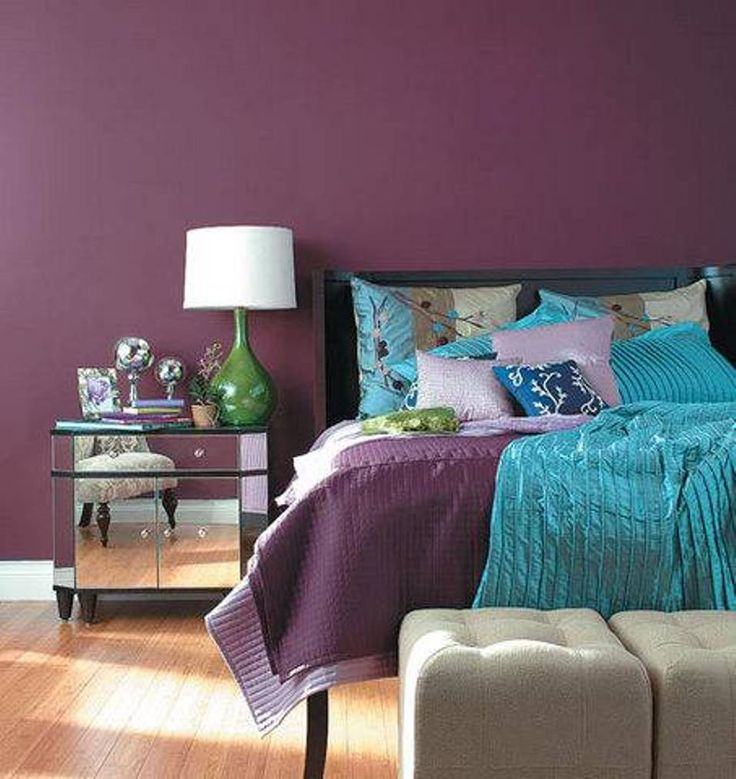 Bedroom , Elegant Purple Bedroom : Purple Bedroom With Purple Blue Bedding And Purple Walls And Mirrored Nighstand And Green Base White Shade Bedside Lamp And Ottoman