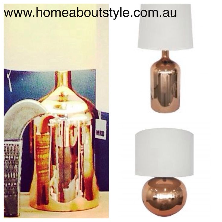Sophisticatedly modern...bright & reflective!! These copper table lamps create a glamorous accent to a side table or console. (Top) Bell Lamp$245 (bottom) Ava Lamp $209 complete with custom made shade www.homeaboutstyle.com.au lamps @home_about_style #interiordesign #homedecor #homelighting #lamps #tablelamps #copperlights #mrdhome #luxury #beautifulhomes #homedecorating #homedecorators #stylish #pickoftheday #homeaboutstyle