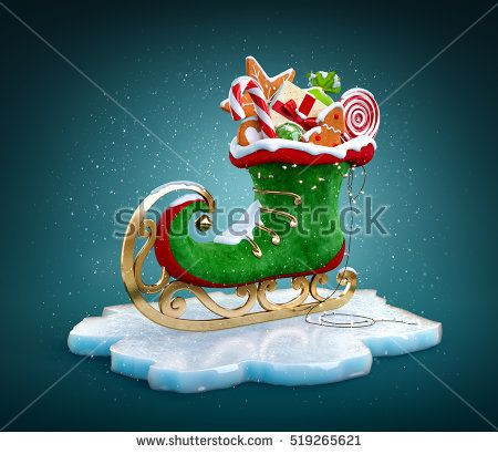 Magical elf skate full of christmas gifts and sweets. Unusual christmas 3d illustration