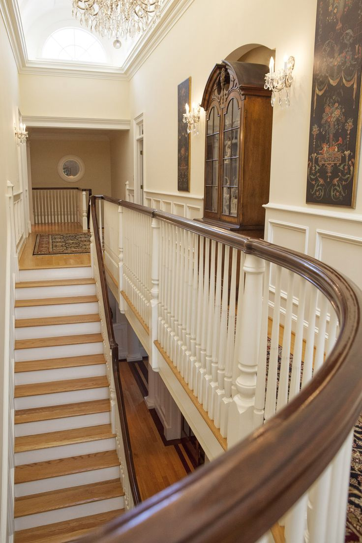 Southern Plantation style homes and stairs or staircases are often dramatic and classic