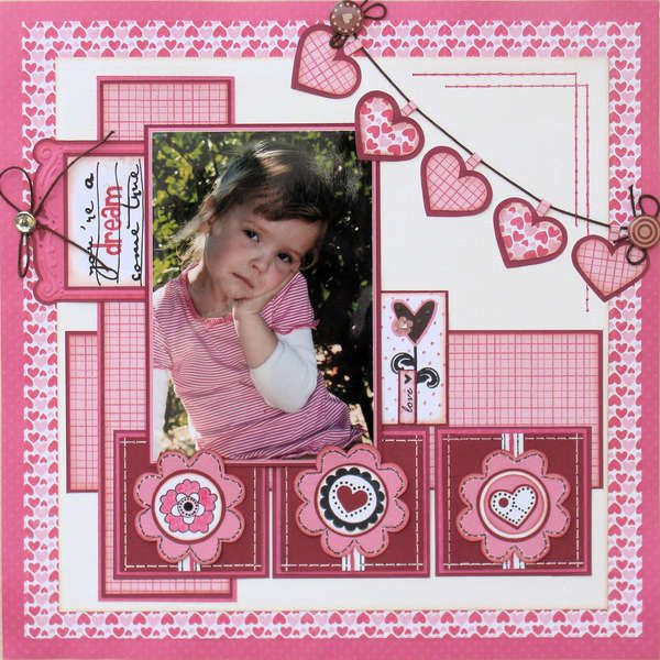 """You're a dream come true"" Love all the hearts. Valentine Scrapbooking layout"