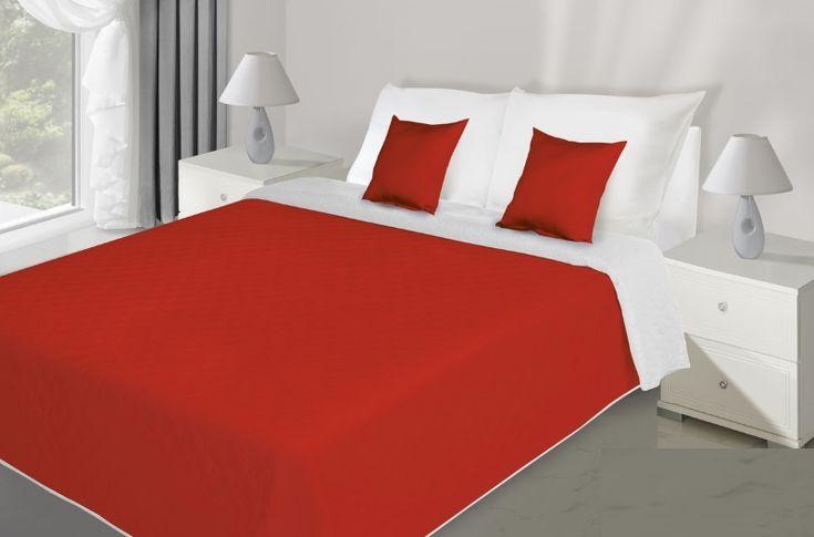 Červeno bílý oboustranné přehozy na postel