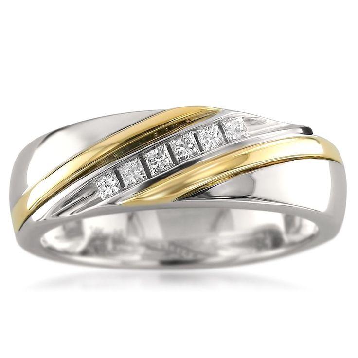 Montebello 14k Gold Men's 1/5ct TDW Princess-cut White Diamond Wedding Band