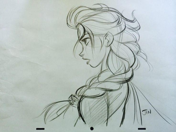 Sketch Of Elsa By The Original Animator Frozen Disney