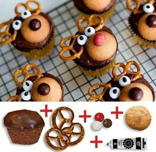 Decorar cupcakes navideños como renos » http://diciembrenavidad.com/decorar-cupcakes-navidenos-como-renos/ #Recetas #Navidad