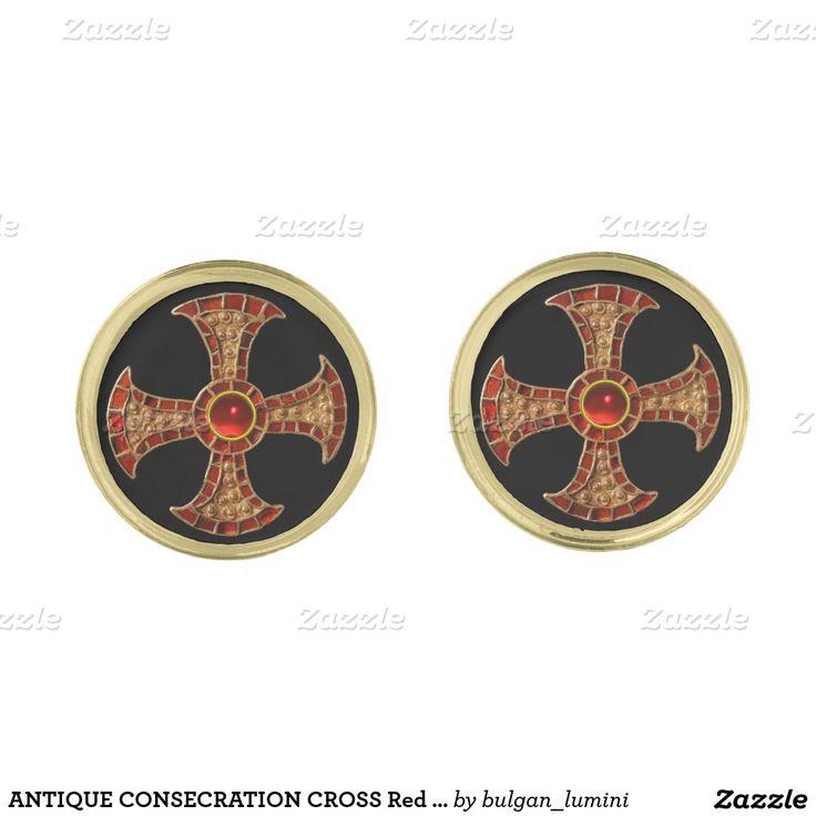 ANTIQUE CONSECRATION CROSS Red Ruby Gemstones Gold Cufflinks