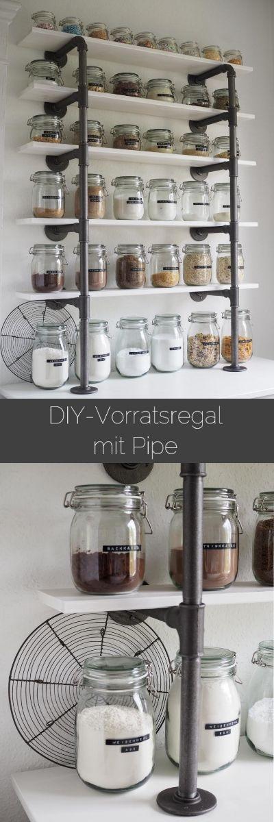 Vorratsregal aus Industrierohren - pipe shelf, DIY, industrial storage, IKEA mit Dymo