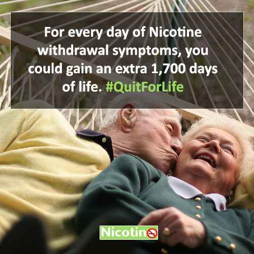 For every day of Nicotine withdrawal symptoms, you could gain an extra 1,700 days of life. #QuitForLife