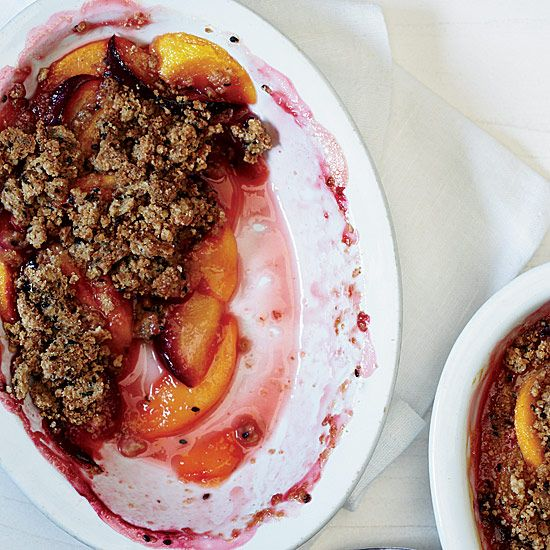 Peaches and Plums with Sesame Crumble // More Great Cobblers: www.foodandwine.com/slideshows/fruit-cobblers-and-crisps/1 #foodandwine