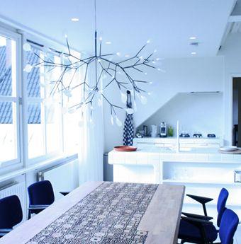 Living Room & Kitchen - Hotel Droog Amsterdam #white #blue #design