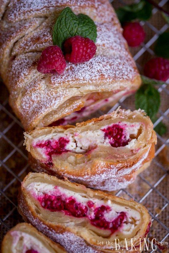 Raspberry Cheesecake Danish - Puff pastry braid filled with cheesecake and…