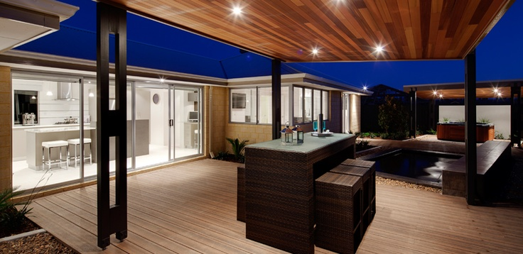 Awesome outdoor design with spa, water feature and decking with timber ceiling to cabana. On display in Baldivis, Perth WA.