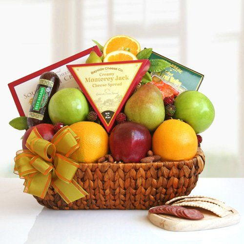 Have to have it. Fruit Abounds Gift Basket $49.95. Juicy apples, oranges, and pears balance the delectable taste of cheese, salami, dried fruit, roasted salted almonds, and crackers.