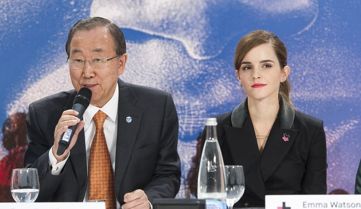 Secretary-General Ban Ki-moon (left) speaks during an event to unveil the HeForShe IMPACT 10X10X10 pilot initiative. Also present is Emma Watson, UN Women Goodwill Ambassador. The initiative is a one-year pilot effort that aims to engage governments, corporations and universities as instruments of change positioned within some of the communities that most need to address deficiencies in women's empowerment and gender equality and that have the greatest capacity to make and influence those…