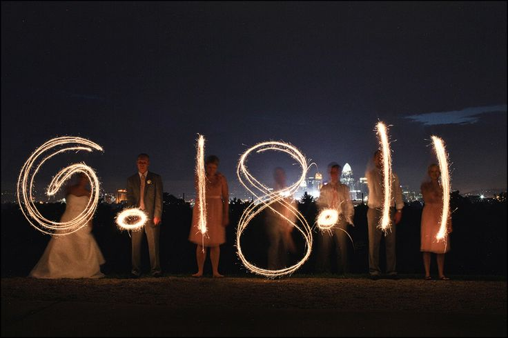 photo ideas w/ sparklers - save the date cards?