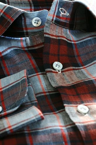 Linen shirt for men, to paintings, colors: blue red and blue, Shirt Tailor - $166