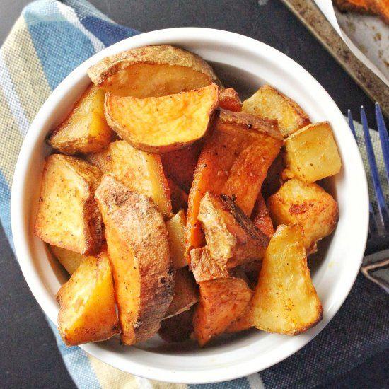 Simple roasted sweet and russet potatoes using olive oil, sea salt ...