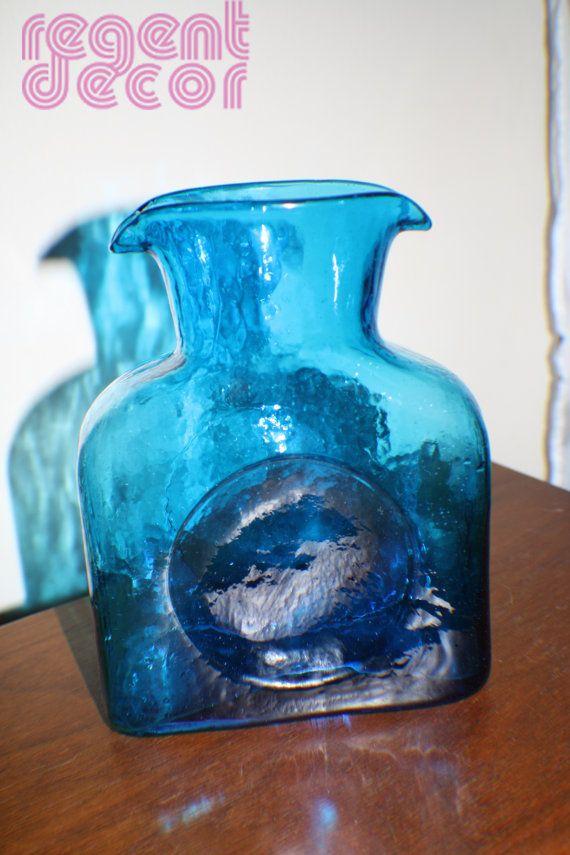 Vintage Blenko Water Bottle Turquoise by RegentDecor on Etsy