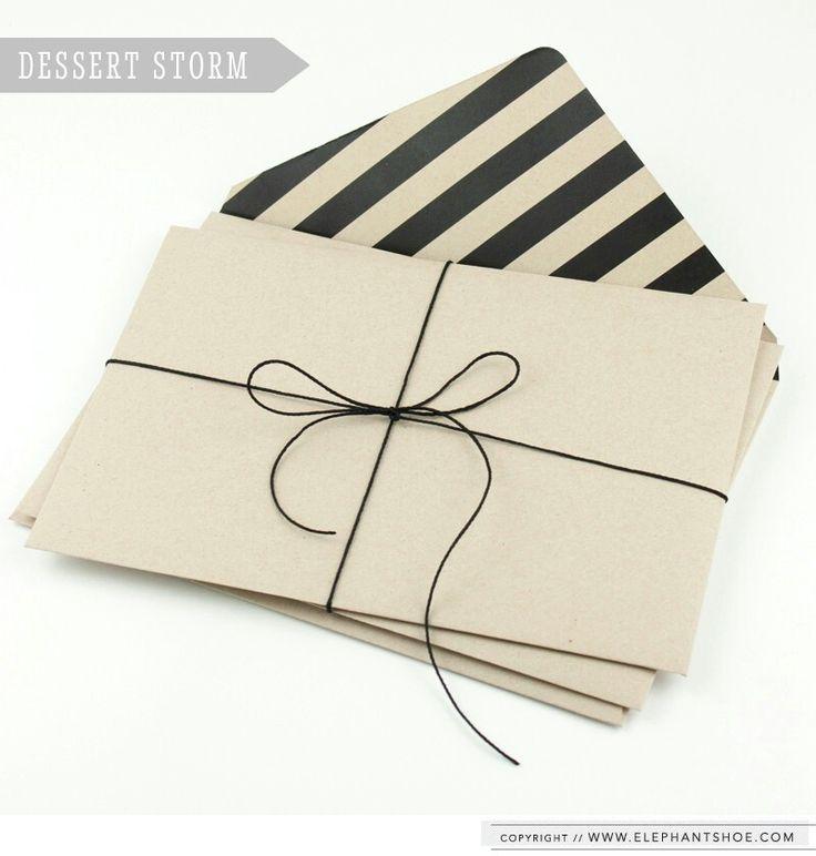 Black and natural stripe recycled envelopes by elephantshoe. www.elephantshoe.com