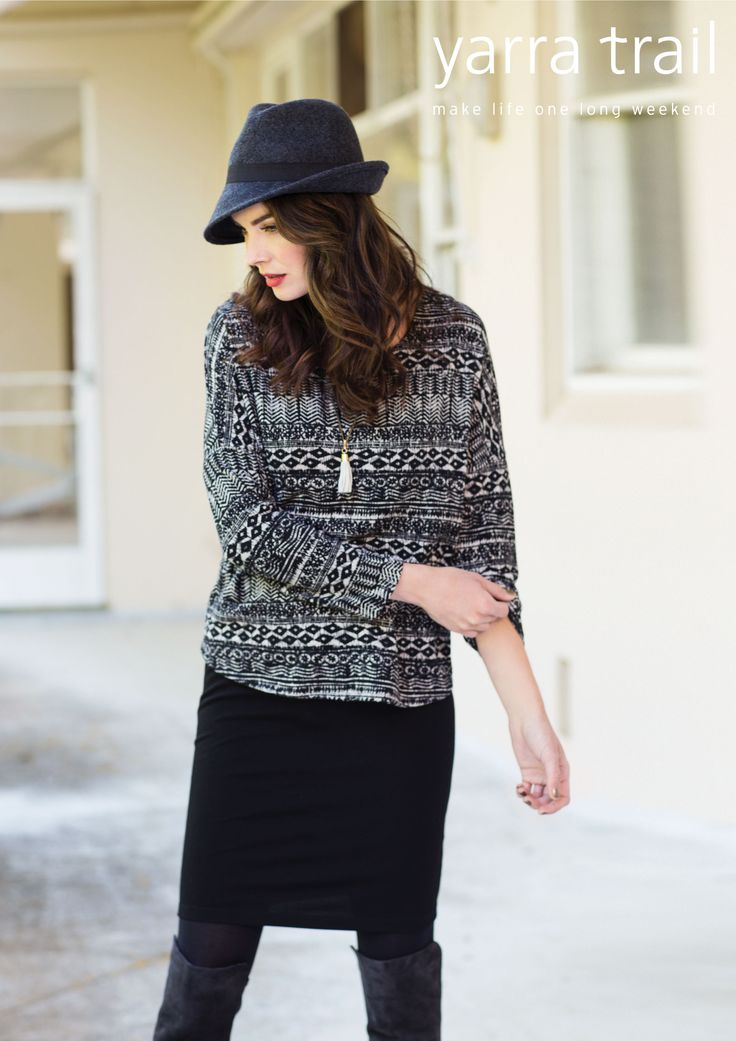 The beautifully simple silhouette of the Overlay Dress is given a modern winter upgrade with a soft printed overlay. The flattering piece features long sleeves, round neckline, drop shoulder and ponte underlay giving the style a fitted finish. http://www.yarratrail.com.au/dresses/overlay-dress-black-multi-15w9678.html