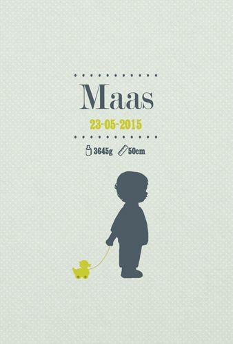 Geboortekaartje Maas - voorkant - Pimpelpluis - https://www.facebook.com/pages/Pimpelpluis/188675421305550?ref=hl (# jongen - silhouet - kindje - eendje - speelgoed - origineel)