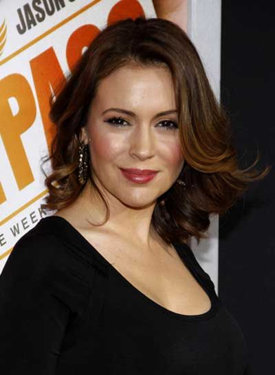 Alyssa Milano Medium, Sexy, Curly, Tousled, Brunette Hairstyle
