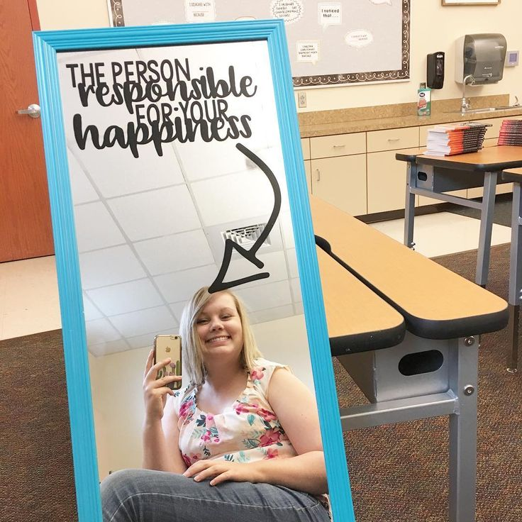 """I just finished this mirror for my classroom. 😊 I saw a similar idea on a bulletin board with """"meet the person responsible for your grade"""" from OCB…"""