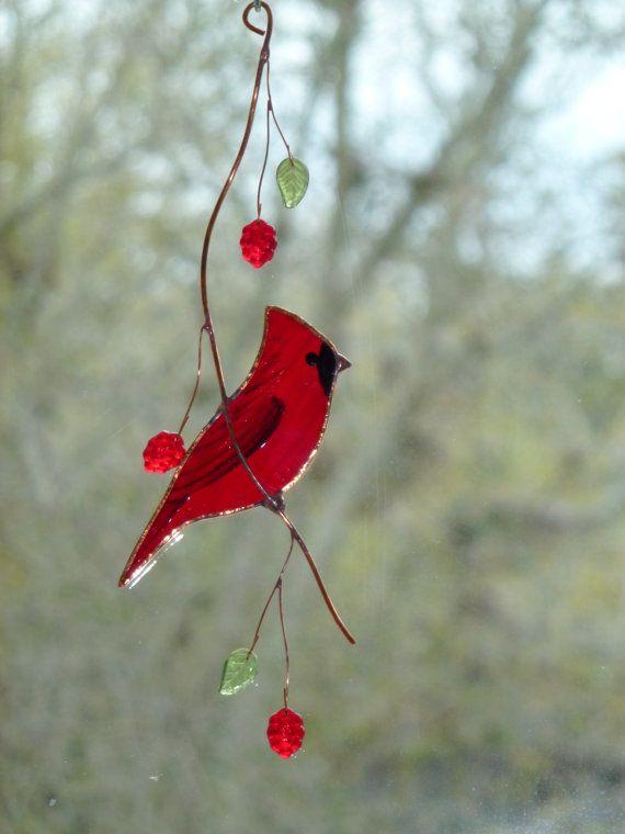 Stained Glass Cardinal Suncatcher by BirdsAndBugs1 on Etsy, $25.00