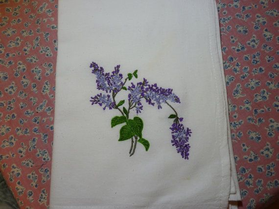 Spring Lilacs Flour Sack Dish Towel by DMYEmbroideryDesign on Etsy, $5.50