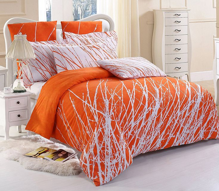 5pc Tree Duvet Cover Set Orange and White